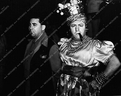 0764-20 Curly Howard of Three Stooges in drag with cigar behind the scenes 764-2