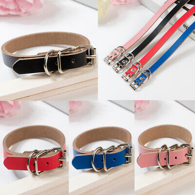 Pet Cat Puppy Strong Real Leather Dog collar Four Sizes Red Black Brown Pink