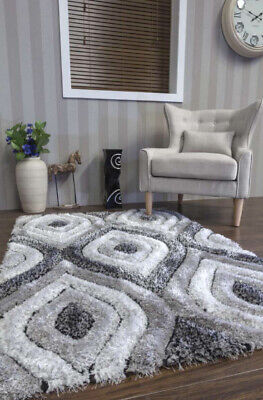 New Quality Luxury Woven Modern  Soft 3D Rugs Large 160Cmx210Cm Grey-Silver