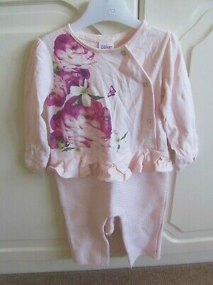 Vgc Ted Baker Pink Floral Front Frill Trim All In One Baby Romper Age 12-18 Mths