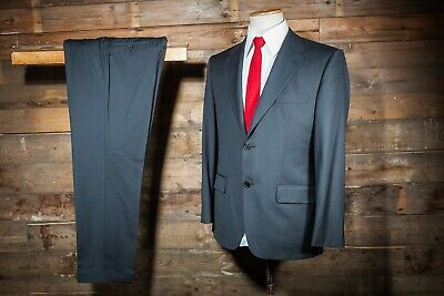 efb26a295 HUGO BOSS SUIT 40S 36W 30L Charcoal Super 150S Canvassed Wool ...