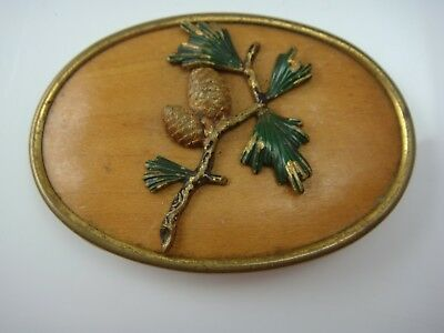 Old Art Deco Wood Back Oval Pine Cone Branch Brass Oval C Clamp Pin Brooch