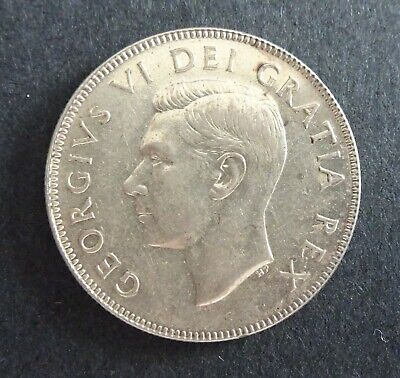 1950 Canadian Fifty Cent Coin AU50