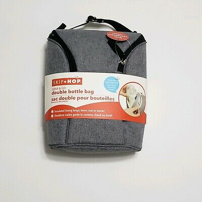 Skip Hop Grab & Go Double Insulated Double Bottle Bag Heather Grey