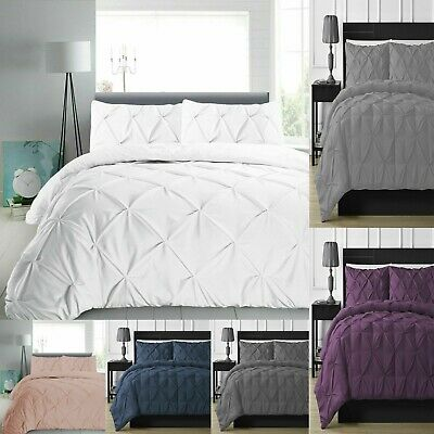 Pintuck Duvet Cover Set 100% Egyptian Cotton Quilt Bedding Bed Sets Double King