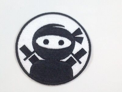 Black & White Ninja ~ Embroidered Patch ~ Iron On Sew On