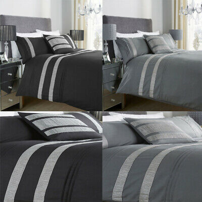 Pleated Sequence Lace Diamante Glitz Pintuck Duvet Quilt Cover Bedding Set UK.