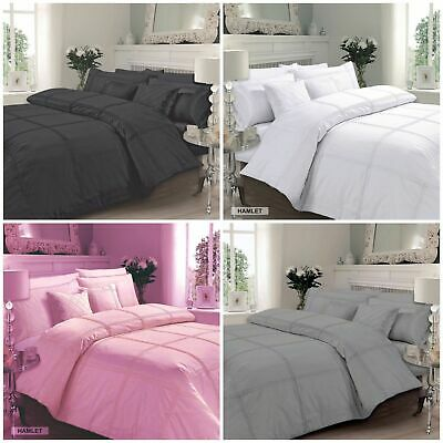Square Pintuck Pleated Duvet Quilt Cover Bedding Set 100% Poly Cotton Single Dou
