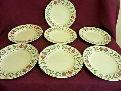 """Adams Ironstone Side / Salad Plates X 7,  9"""" Dia., Old Colonial Pattern     #Ab#"""