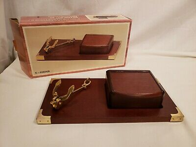 Vintage Brass Anchor Cigarette Box, Wood Decorative Desktop, UCGC, Original Box