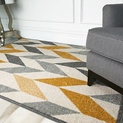 Modern Soft Warm Ochre Mustard Yellow Grey Cheap Geometric Rugs For Living Room