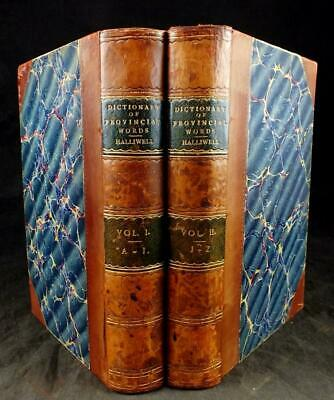 1881 DICTIONARY of ARCHAIC & PROVINCIAL WORDS, PROVERBS, CUSTOMS 2VOLS, BINDINGS
