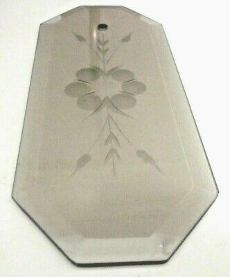 """Octagon Beveled Glass Panel Hole Gray Smoke Floral Chandelier Lamp Part 8-13/16"""""""