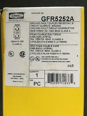 New Hubbell Brown Ground Fault Duplex Receptacle GFR5252A 15A 125V