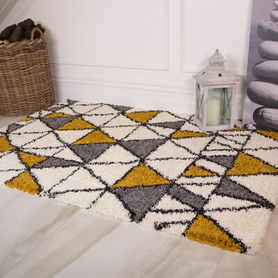 Mustard Yellow Cheap Geometric Bedroom Rugs Grey Ochre Non Shed Shaggy Rug NEW
