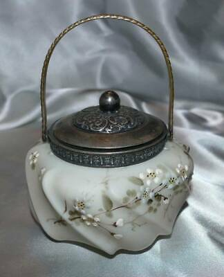 WAVECREST or MOUNT WASHINGTON GLASS HANDLED TRINKET ~ JAM ~ SUGAR JAR