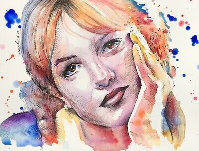 "Britney Spears Original Painting / Drawing . Fan-ART 12"" x 9"""