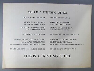 This is a Printing Office, by Beatrice Warde, Broadside