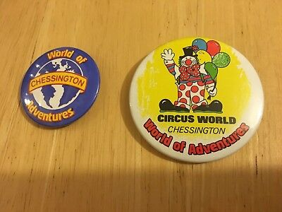 2 X Vintage Chessington Badges Circus World And World Of Adventures