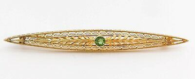 Antique Vintage Arts and Crafts Period 14K Gold Peridot Bar Pin Brooch