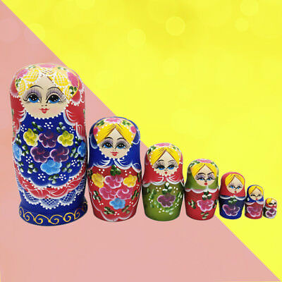 7 Pcs Wooden Russian Dolls Nesting Dolls Lovely Collection Toy for Adults Kids