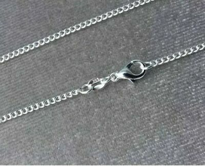 Genuine 925 Solid Silver Curb Chain Necklace Lobster Clasp All Inch 16000Sold