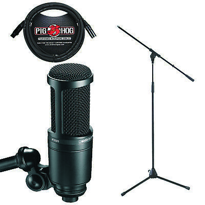 Audio Technica AT-2020 Studio Microphone Bonus Pack 10' Cable and Mic Stand