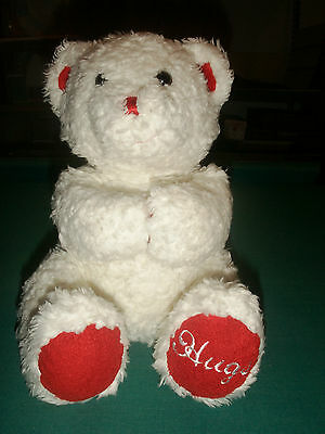 "BUILD A BEAR HUGS 11"" PEBBLES PLUSH WHITE  RED MAGNETS toy animal Valentines"