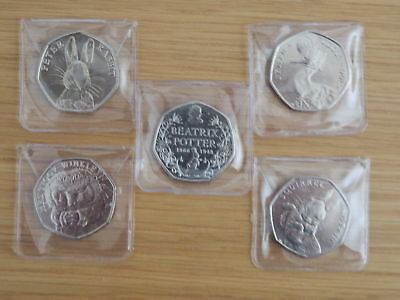 2016 Beatrix Potter 50p full set of 5 coins, inc Jemima, uncirculated in wallets