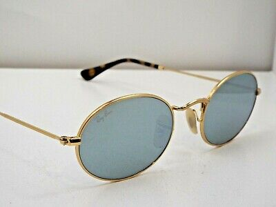 2b47d7a1992 Authentic Ray-Ban RB 3547N 001 Gold Oval Flat Silver Flash Sunglasses $193