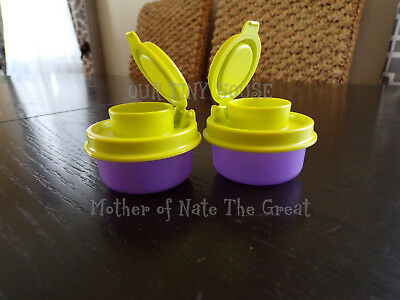 NEW TUPPERWARE SMIDGETS SALT AND PEPPER SHAKERS Spice Small Mini SHEER PURPLE