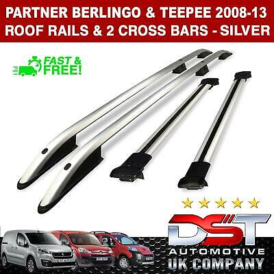 Berlingo and Partner Roof Rack Rails & Cross Bars Set - Satin Silver 2008-18