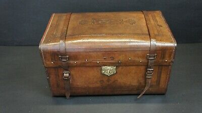 Early Antique Leather Portmanteau Trunk Secret Compartment