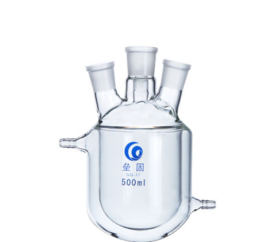 4-Necks Glass Jacketed Flask Reactor Vessel Double Layer 500ml