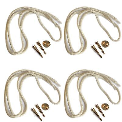 Blank Bolo Tie Parts Kit Round Slide Smooth Tips Natural Cord Goldtone Pk/4