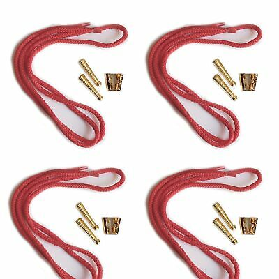 Blank Bolo Tie Parts Kit Standard Slide Textured Tips Red Cord Goldtone Pk/4