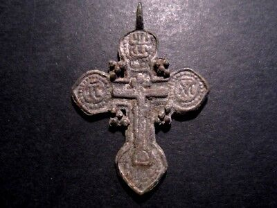 ATTRACTIVE ANTIQUE 1700-1800s. RUSSIAN ORTHODOX BILLON CROSS!!!