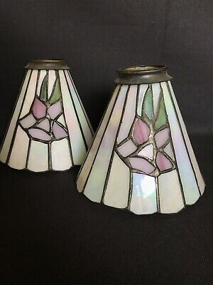 Antique pair Lead Soldered Glass and brass Lampshade opalescent mission style 6""