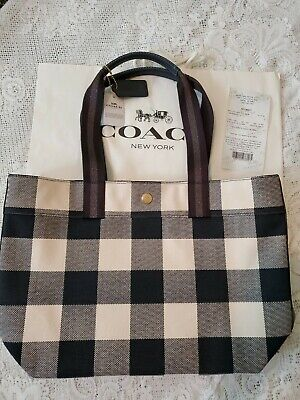 ba033b7564 NWT. COACH BUFFALO Plaid Print Canvas Tote Bag Midnight Blue F66867 ...