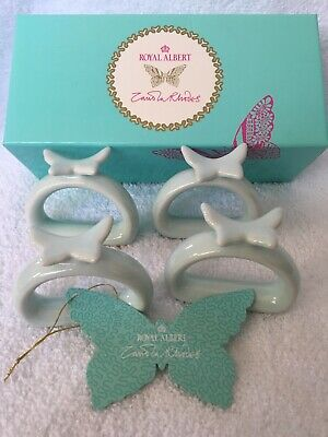 "Royal Albert ""My Favorite Things""  Zandra Rhodes Boxed Set Butterfly Napkin Ring"