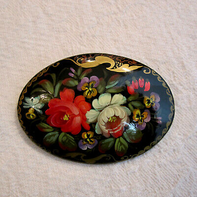 Signed Vintage Red Flower Lacquered Russian Handpainted Wood Brooch Pin