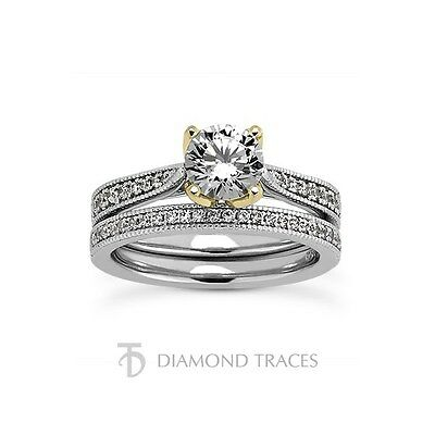 1,50 CT G-SI2 VG Véritable Diamant Rond 14ct Feuilles or Cathedral Mariée