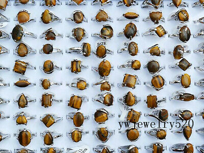 10pcs Tiger Eye silver-plated rings wholesale jewelry lots women's free shipping