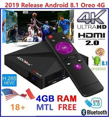 [2019 Popular] Android 8.1 Oreo 4GB+32GB Free IPTV Version K18 TV Box (CA US)