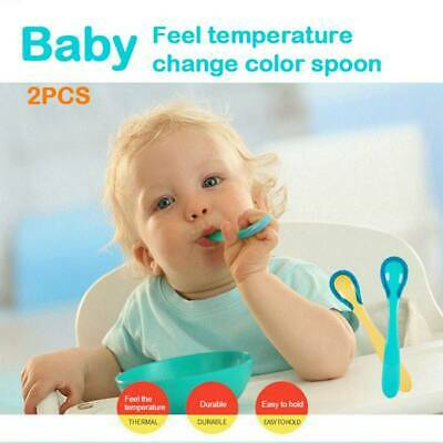 2pcs Baby Thermo-colored Scoop Set Safe Color-changing Thermostool Baby Food 9N7