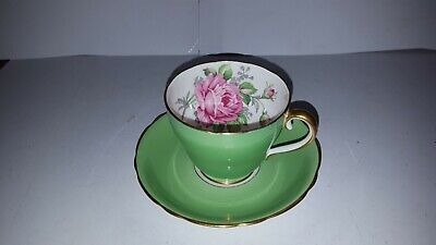 Vtg ADDERLEY FINE BONE CHINA CABBAGE PINK ROSE GREEN TEACUP & SAUCER SET