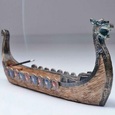 Dragon Boat Incense Burner Holder Stick Hand Carved Craft Censer Home Decoration