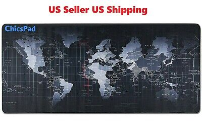 "New Extended XL Gaming Mouse Pad 31.5"" X 11.8""W  Desk Keyboard World Map"