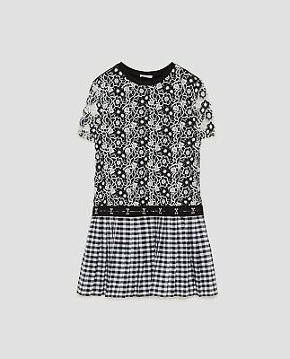 4b300eb1acdd Zara CHECKED CROCHET LACE PLEATED DRESS-black/white-ref 7901/
