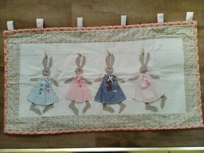 """Handmade Fabric Tilda quilted wall hanging Panel ~ 4 Rabbits ~ 32½"""" x 17½"""""""